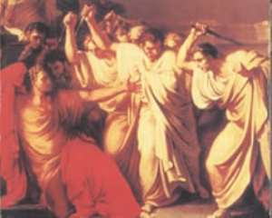 An artist s impression of the dying Caesar reaching out to Brutus (far right)